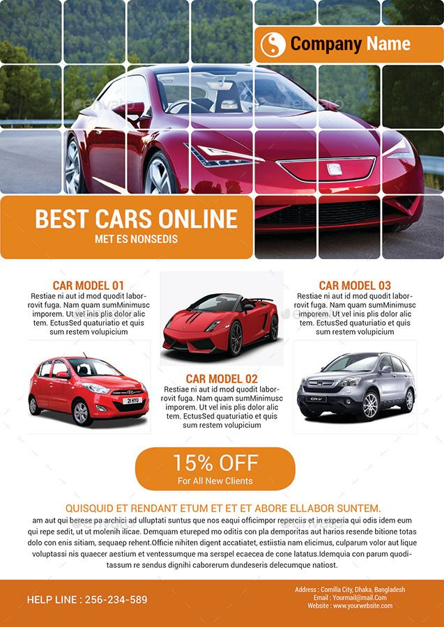 Automotive Car Sale Rental Flyer Ad Template #Sale, #Car