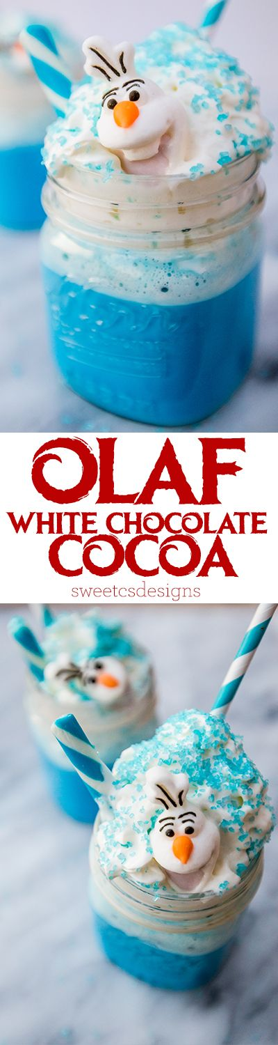 My kids will LOVE this fun cocoa recipe with little Wilton candy Olafs!