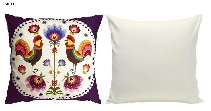 Motyw folkowy poszewka na poduszkę w kolorze fioletowym