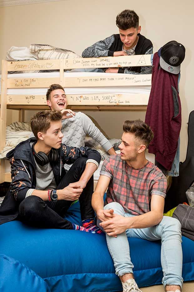 4/8's Stereo Kicks (Reece, Tom, James and Casey) in their X Factor bedroom