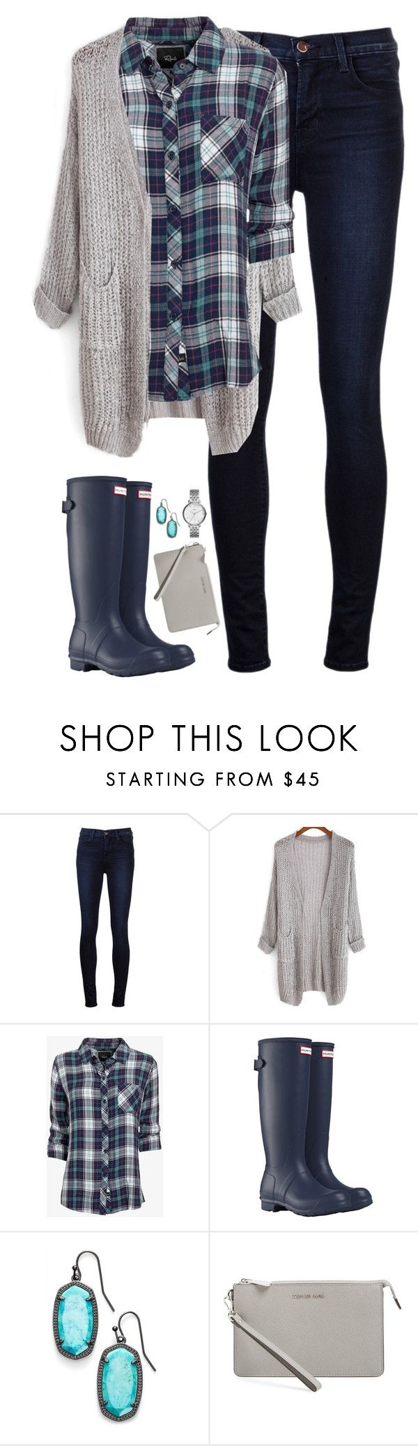 """Navy & teal plaid with gray cardigan"" by steffiestaffie ❤ liked on Polyvore featuring J Brand, Rails, Hunter, Kendra Scott, MICHAEL Michael Kors, FOSSIL, women's clothing, women's fashion, women and female"
