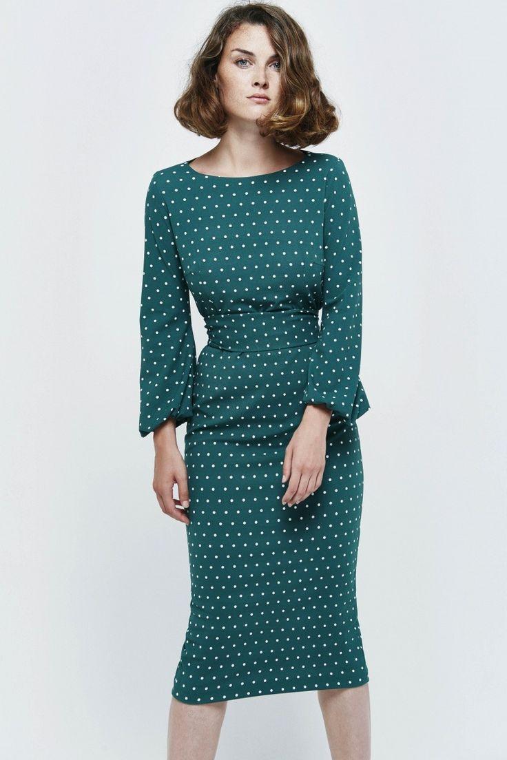 Vestido midi. Modelo SABINA Verde - Etxart&Panno Online