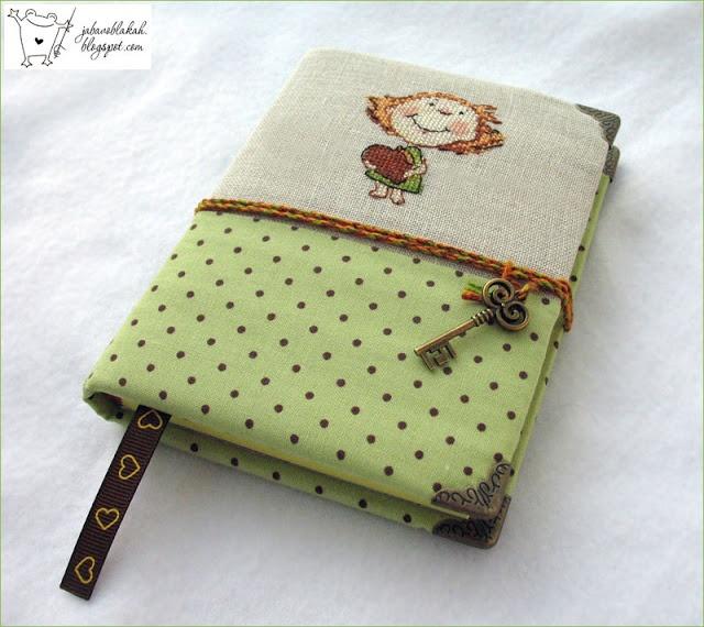 hand made notebook, cross stitching