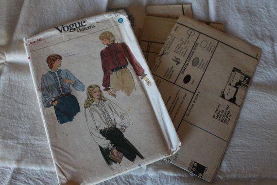 Vintage Vogue Sewing Pattern 8114 Misses Blouse Size 10
