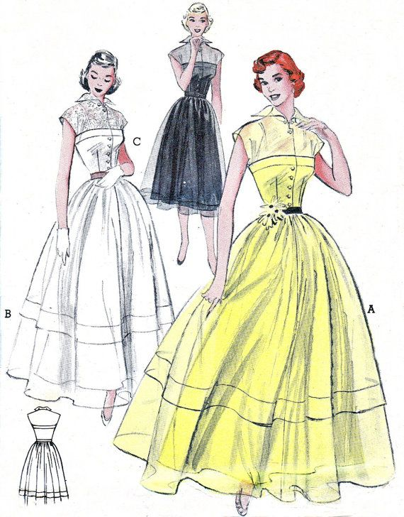 1950s Dress Pattern Butterick 5776 Full Skirt Cap Sleeve Day or Evening Dress Sheer Yoke and Overlay Womens Vintage Sewing Pattern Bust 34