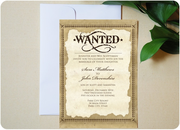 Western Wedding Invitation Wording: Old West Western Wedding Invitation