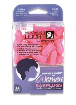For women who need to block snoring or other night time noises, ear plugs like these soft pink Super Leight plugs can drastically improve the quality of sleep -- inexpensively, safely, and with zero side-effects.