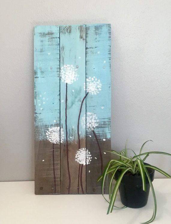 Pintado a mano Dandelion sesión, madera reciclada, signo rústica, 22 x 10, azul, marrón y blanco, el arte de palets