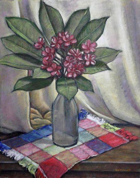 Vaso com flores, 2013 Cássio Antunes (Brasil, contemporâneo) óleo sobre tela, 40 x 50 cm
