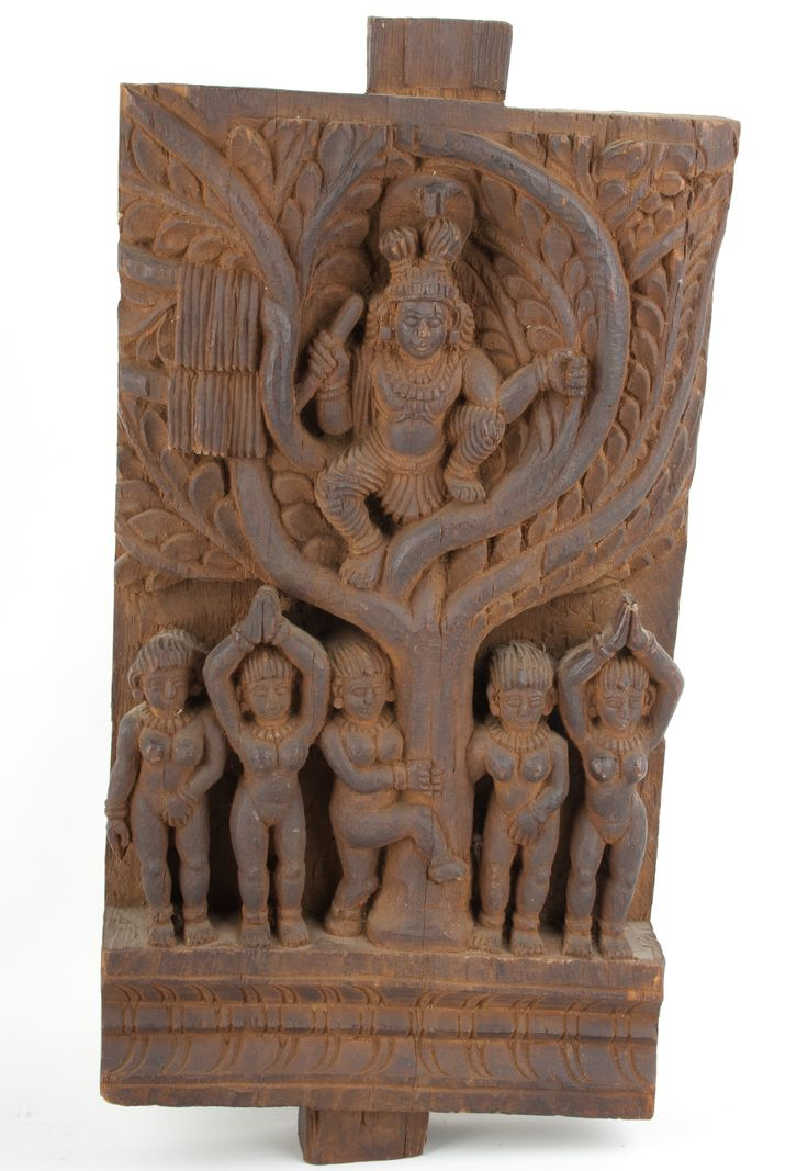 Description a carved wood chariot panel south india