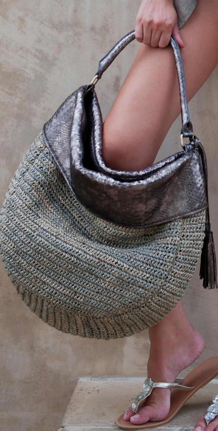 Flora Bella: 2013 Ventura Beach Bag. Crochet bag with leather top, strap and tassels.