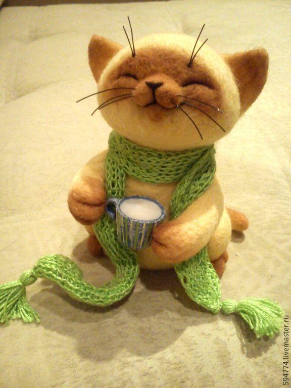Купить игрушка из шерсти , кот Сигизмунд Сливочкин - лимонный, игрушка из шерсти, котик, кот