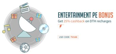 Freecharge  Get 25% Cashback on DTH Recharge