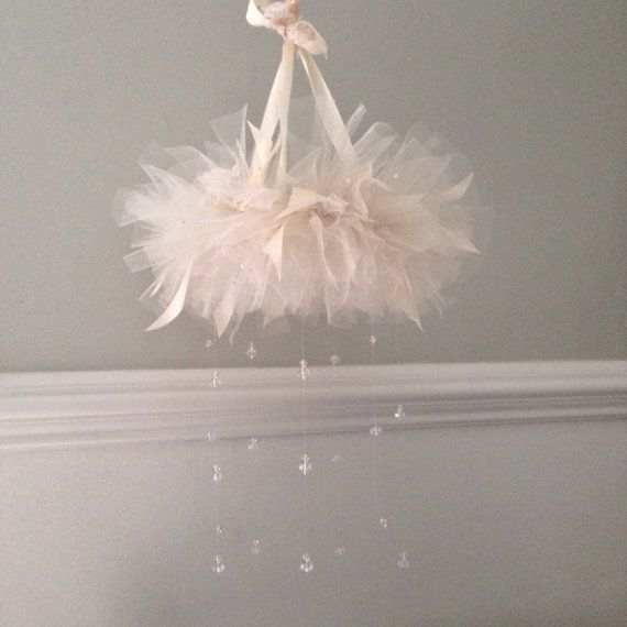 Handmade vintage-couture inspired princess tutu with hanging crystals; lace, satin, tulle, crystal, baby mobile, crystal mobile,tulle mobile
