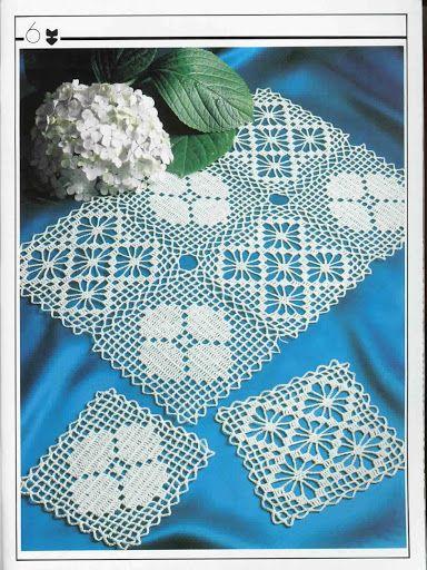 Lovely Flower & Spider lacy squares Filet crochet placemat ~~ Decorative Crochet Magazines 19 - Gitte Andersen - Picasa Web Albums