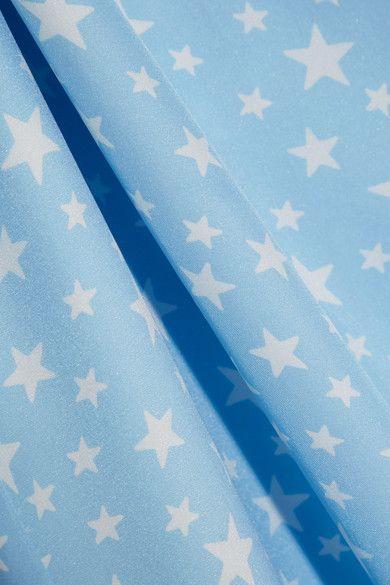 HVN - Lily Printed Silk-satin Dress - Sky blue - US