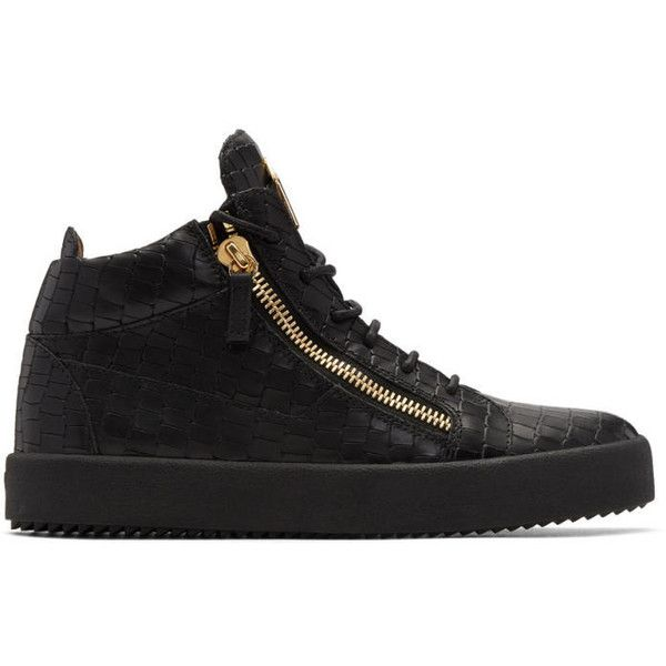 Giuseppe Zanotti Black Croc May London High-Top Sneakers (14.195 ARS) ❤ liked on Polyvore featuring men's fashion, men's shoes, men's sneakers, black, crocs mens shoes, mens black lace up shoes, mens round toe dress shoes, mens high top sneakers and mens black shoes