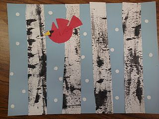 Birch trees and cardinalsWinter Art, Winter Scene, Birches Trees, Oetken Artists, Kids Art, Texture Winter, Art Projects, Crafts, Winter Birches