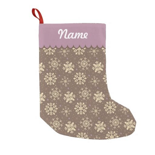 Personalized Christmas Gingerbread Snowflake Pattern Stocking. Designed by Kristy Kate www.kristykate.com.
