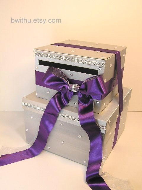 Silver and Purple Wedding Card Box, maybe a different color ribbon for my taste
