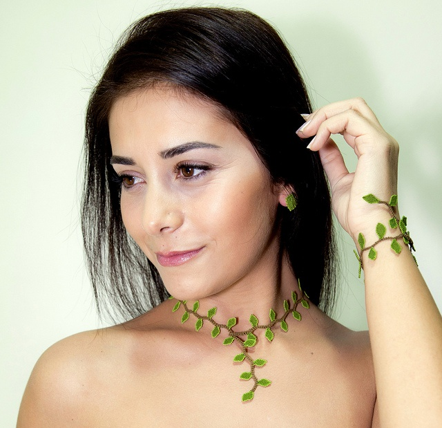 Minimalist Turkish lace necklace, eco friendly hand crocheted lime green leaf choker - Elf collection by Land of Dante, via Flickr