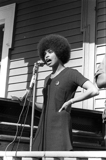 Angela Davis speaks at a Panther rally in Defermery Park, West Oakland.