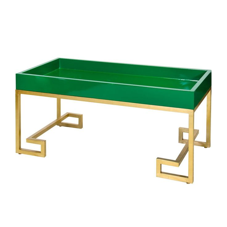 Lacquered Tray Greek Key Coffee Table; Available In Green, White, And Blue;