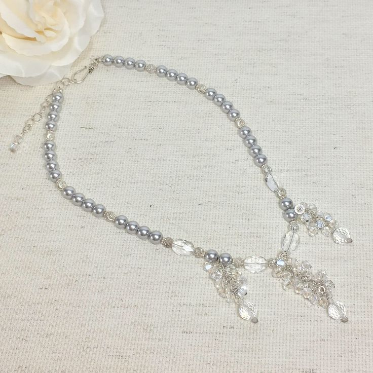 Pearl and crystal necklace, wedding necklace, elegant necklace, gift for mom, handmade necklace, beaded necklace, bridal jewelry