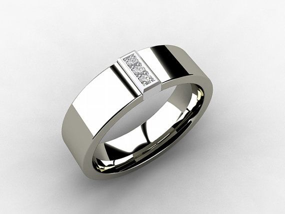 Men's Palladium wedding band with Diamonds in 18k White Gold setting by TorkkeliJewellery, $1100.00