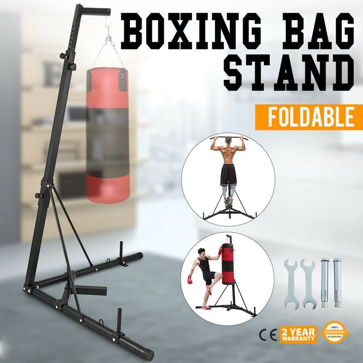 Folding boxing bag stand chin pull up bar home exercise