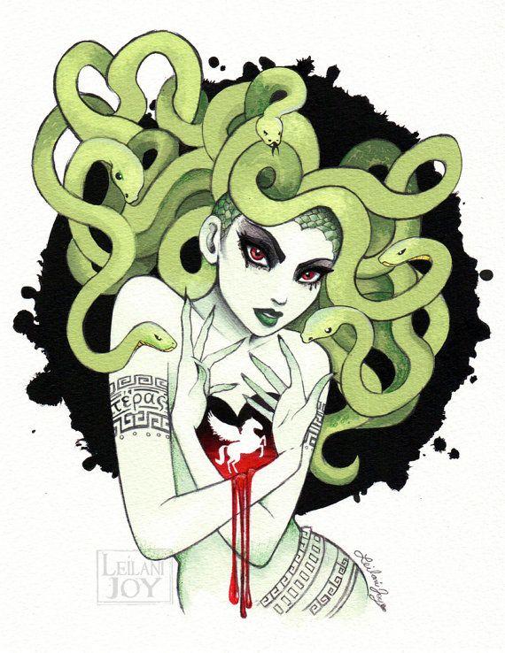 8x10 LIMITED EDITION: Medusa Watercolor Vignette by LeilaniJoyArt