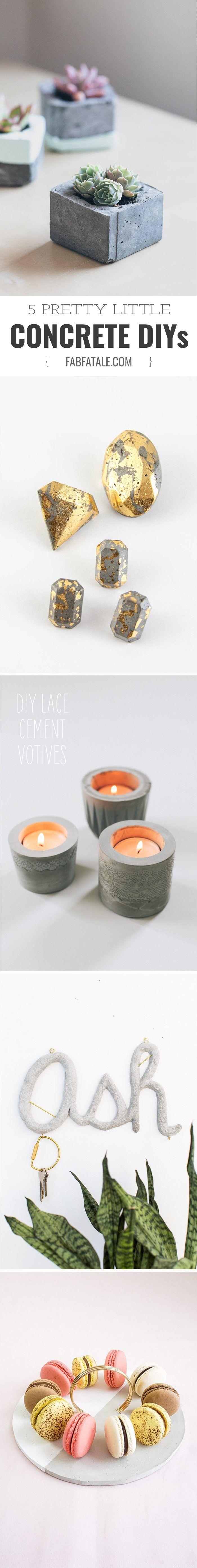 5 pretty little concrete diy crafts - cement votive, tray, gold jewelry, planter