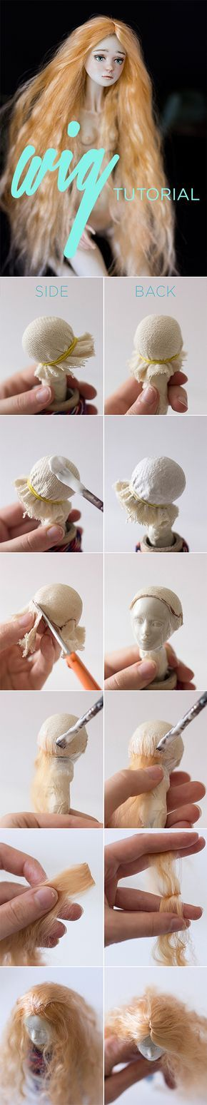 BJD wig tutorial, art doll hair tutorial. How to attach doll hair? by Adele Po.