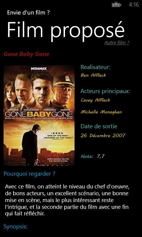Envie d'un film ? téléchargez mon appli sur WP :)