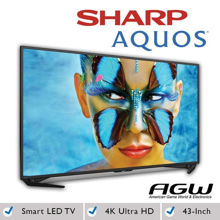 Sharp - AQUOS - 43 pulgadas - LED - 2160p - Smart - 4K Ultra HD TV - Negro : Obtenga acceso a un mundo de entretenimiento al instante con este producto. Sólo tiene que conectar a Internet películas y corriente, escuchar música y acceder a una amplia variedad de otros contenidos.