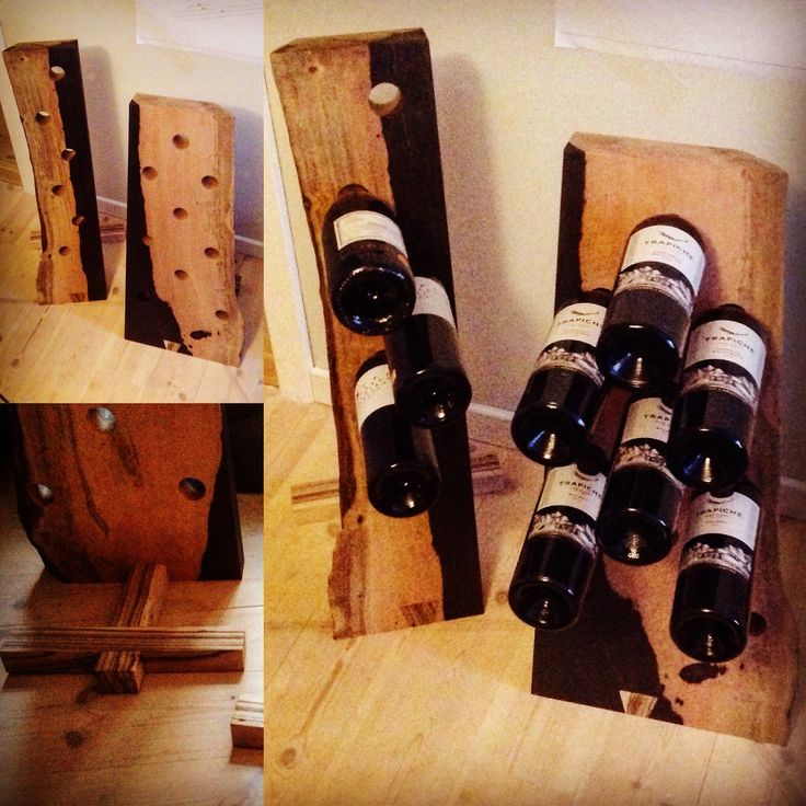 Winerack made out of ebony and zebrawood scraps