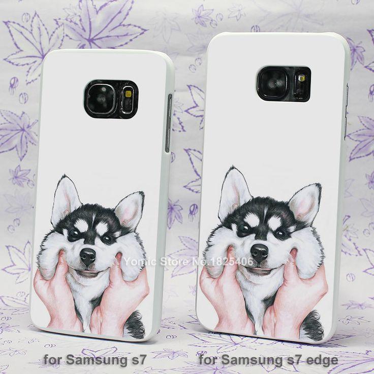 lovely Siberian Husky hard White Skin Case for Samsung Galaxy s3 s4 s5 mini s6 s7 edge plastic case cover