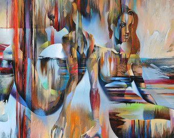 BLUE MIST - tirage dArt sur papier texturé ou sur toile - édition limitée de 50 cette oeuvre figuratif abstrait combine lénergie aléatoire dune