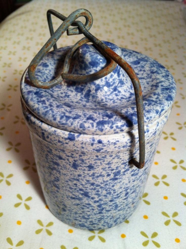 Vintage Ceramic Spatterware Cheese Jar with Wire Closure. $8