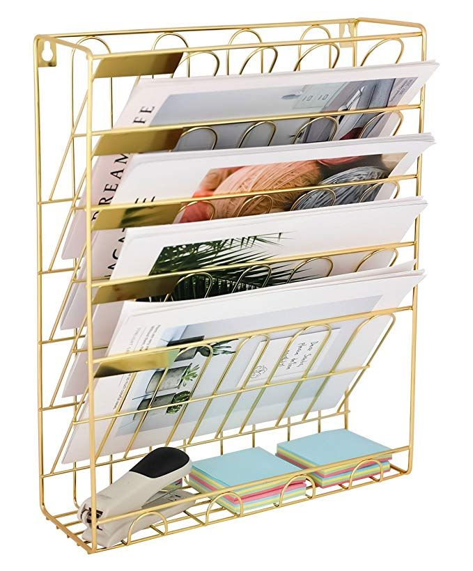 Superbpag Hanging Wall File Organizer 5 Slot Wire Metal Wall Mounted Document Holder For Office Home Gol Wall File Organizer Wall File Hanging File Organizer