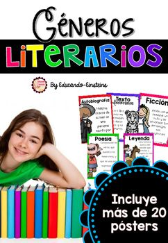 Reading Genre Poster Set in Spanish! This poster set is a fun and colorful way to display the Reading Genres in Spanish in your classroom. In this colorful set, you will find more than 20 posters!