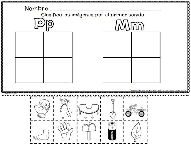Spanish Alphabet Resources for the letter P and the syllables pa, pe, pi, po, pu  Fichas para la letra p y las silabas pa, pe, pi, po, pu. Una hoja compara los sonidos de m con p.