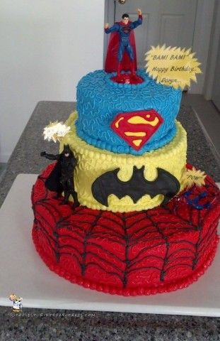I made this superhero birthday cake for a little guy that really wanted to have a cake that was designed like a wedding cake with spring flowers. I co...