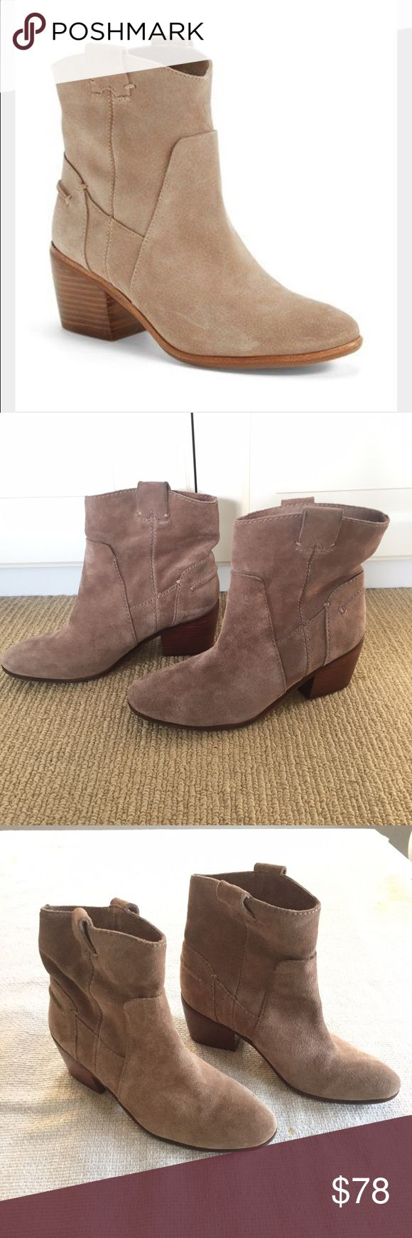 Vince Camuto Maves Booties The popular Maves suede booties, now sold out everywhere. First photo from the Nordstrom site, where they retailed for $158.99. Mushroom colored suede. Very light wear, still in great condition. Approx 2.5 inch stacked chunky heel. Side pull tabs. These boots are actually a 7.5 (37.5) but run small, so would best fit a size 7. Fast shipping/all FIVE STAR reviews!! Vince Camuto Shoes Ankle Boots & Booties