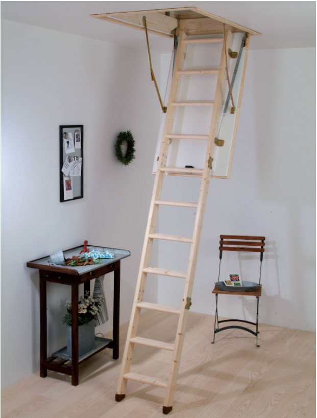 this sturdy spruce timber ladder comes complete with an insulated loft hatch and frame it