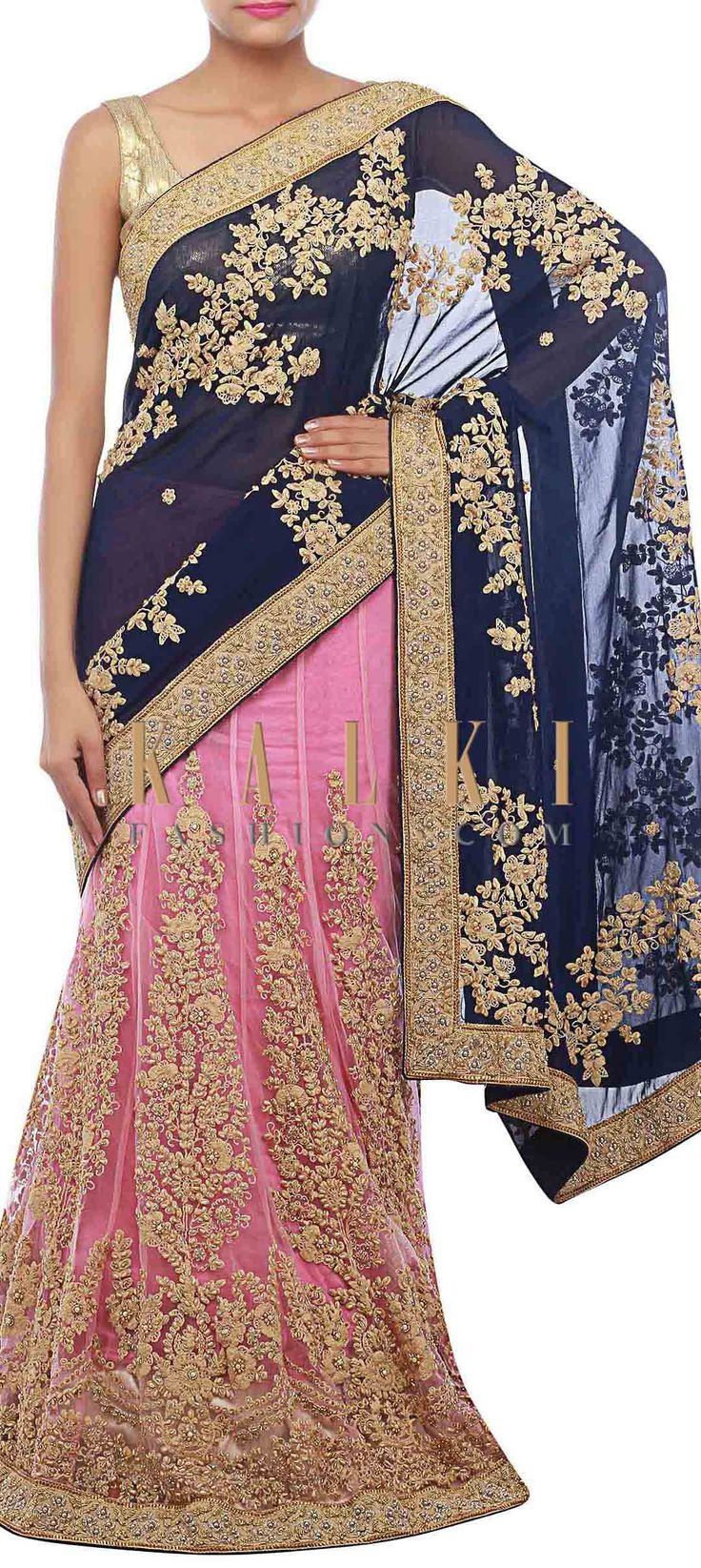 Buy Online from the link below. We ship worldwide (Free Shipping over US$100) http://www.kalkifashion.com/baby-pink-and-blue-lehenga-saree-embellished-in-thread-embroidery-only-on-kalki.html