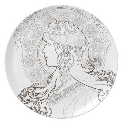 Dessin Vrouw Alfons Mucha: Tekening-Kleurplaat-Patroon-Prent *Drawing-Colouring Picture-Pattern  ~Zodiac 1896~