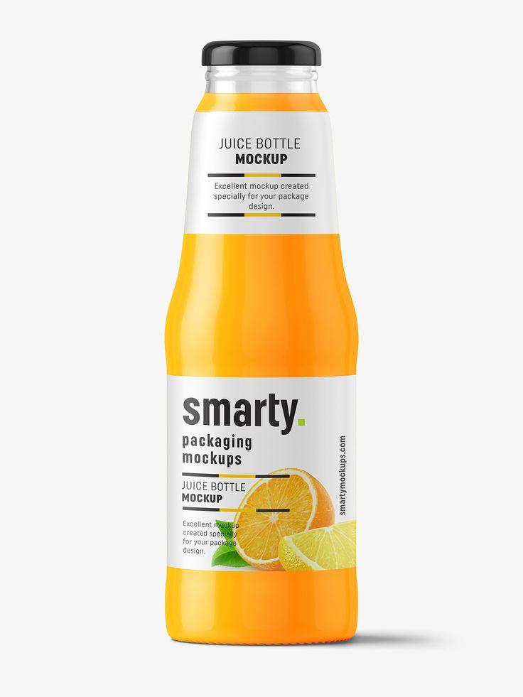 Glass juice bottle mockup