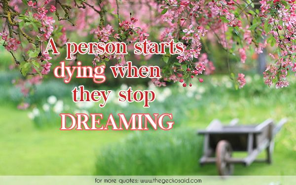 A person starts dying when they stop dreaming.  #dreaming #dreams #dying #person #quotes #starts #stop