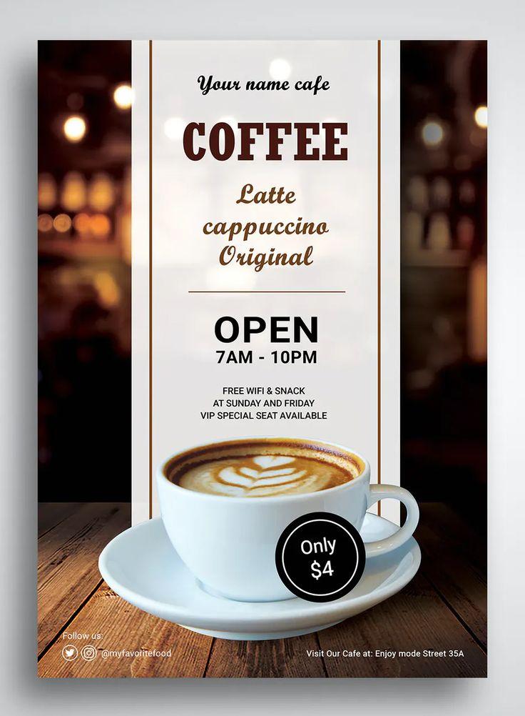 Coffee shop promo flyer template kreatif brosur kopi
